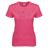 Ladies Fuchsia T Shirt-Phi Tau Sweetheart Foil