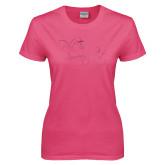 Ladies Fuchsia T Shirt-Phi Tau Sweetheart Foil