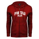 ENZA Ladies Cardinal Fleece Full Zip Hoodie-Phi Tau Mom