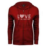 ENZA Ladies Cardinal Fleece Full Zip Hoodie-Love Phi Tau