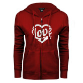 ENZA Ladies Cardinal Fleece Full Zip Hoodie-Love Phi Tau Heart