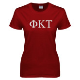 Ladies Cardinal T Shirt-Greek Letters