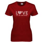 Ladies Cardinal T Shirt-Love Phi Tau