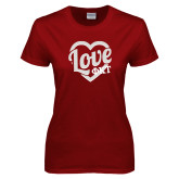 Ladies Cardinal T Shirt-Love Phi Tau Heart