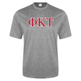 Performance Grey Heather Contender Tee-Greek Letters - Two Color