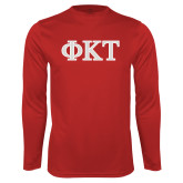Performance Cardinal Longsleeve Shirt-Greek Letters - Two Color