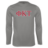 Performance Platinum Longsleeve Shirt-Greek Letters - Two Color