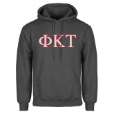 Charcoal Fleece Hoodie-Greek Letters - Two Color
