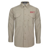 Khaki Long Sleeve Performance Fishing Shirt-Greek Letters
