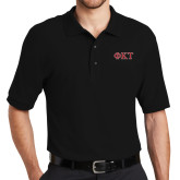 Black Easycare Pique Polo-Greek Letters - Two Color