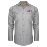 Red Kap Light Grey Long Sleeve Industrial Work Shirt-Greek Letters