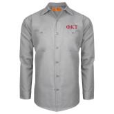 Red Kap Light Grey Long Sleeve Industrial Work Shirt-Greek Letters