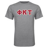 Grey T Shirt-Greek Letters Tackle Twill