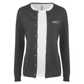 Ladies Charcoal Cardigan-Greek Letters