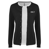 Ladies Black Cardigan-Greek Letters