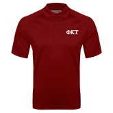 Cardinal Textured Saddle Shoulder Polo-Greek Letters - Two Color