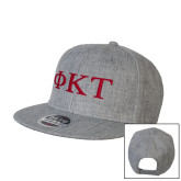Heather Grey Wool Blend Flat Bill Snapback Hat-Greek Letters