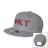 Heather Grey Wool Blend Flat Bill Snapback Hat-Greek Letters