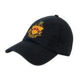 Black Twill Unstructured Low Profile Hat-Crest