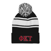 Black/White Two Tone Knit Pom Beanie with Cuff-Greek Letters - Two Color