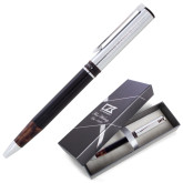 Cutter & Buck Black/Tortoise Shell Draper Ballpoint Pen-Wordmark Engraved