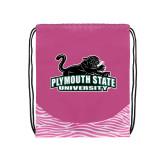 Nylon Zebra Pink/White Patterned Drawstring Backpack-Secondary Mark