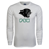 White Long Sleeve T Shirt-PSU Stacked w/ Panther Head
