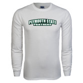 White Long Sleeve T Shirt-Plymouth State Panthers