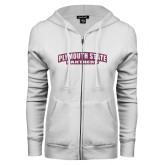 ENZA Ladies White Fleece Full Zip Hoodie-Plymouth State Panthers Glitter