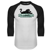 White/Black Raglan Baseball T Shirt-Secondary Mark