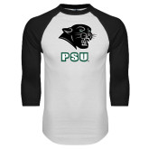 White/Black Raglan Baseball T Shirt-PSU Stacked w/ Panther Head
