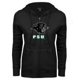 ENZA Ladies Black Fleece Full Zip Hoodie-PSU Stacked w/ Panther Head