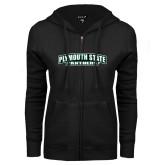 ENZA Ladies Black Fleece Full Zip Hoodie-Plymouth State Panthers