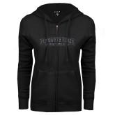 ENZA Ladies Black Fleece Full Zip Hoodie-Plymouth State Panthers Glitter