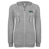 ENZA Ladies Grey/Black Marled Full Zip Hoodie-Secondary Mark