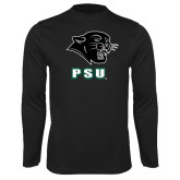 Performance Black Longsleeve Shirt-PSU Stacked w/ Panther Head