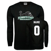 Black Long Sleeve T Shirt-Secondary Mark, Custom Tee w/ Name and #