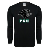 Black Long Sleeve T Shirt-PSU Stacked w/ Panther Head