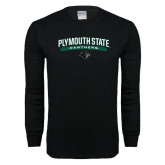 Black Long Sleeve T Shirt-Plymouth State Panthers Arched w Panther Head