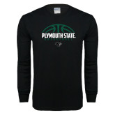 Black Long Sleeve T Shirt-Basketball Half Ball Design