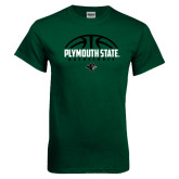 Dark Green T Shirt-Basketball Half Ball Design