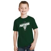 Youth Dark Green T Shirt-Lacrosse Stick Design