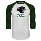 White/Dark Green Raglan Baseball T Shirt-PSU Stacked w/ Panther Head