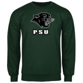 Dark Green Fleece Crew-PSU Stacked w/ Panther Head