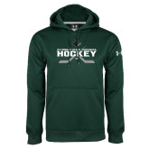 Under Armour Dark Green Performance Sweats Team Hoodie-Hockey Crossed Sticks Design