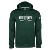 Under Armour Dark Green Performance Sweats Team Hoodie-Hockey Crossed Sticks Design