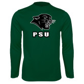 Performance Dark Green Longsleeve Shirt-PSU Stacked w/ Panther Head