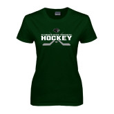 Ladies Dark Green T Shirt-Hockey Crossed Sticks Design