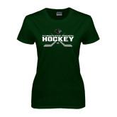 Ladies Dark Green T Shirt-Hockey Crossed Sticks Design