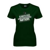 Ladies Dark Green T Shirt-Hockey Banner Design